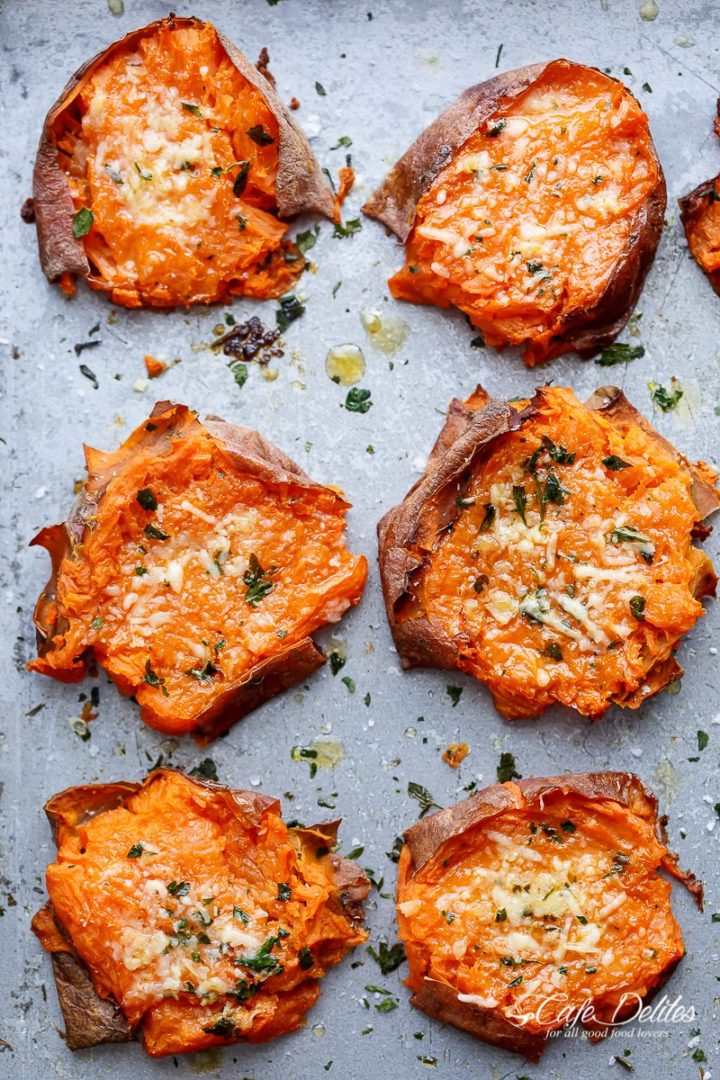 garlic butter smashed sweet potatoes with parmesan by cafedelites