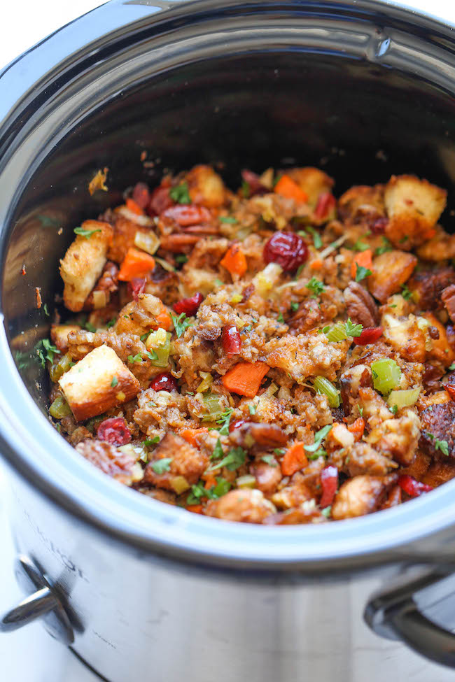 slow cooker cranberry pecan stuffing by Damndelicious