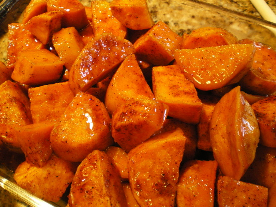 sweet and spicy sweet potato bake by foodcom