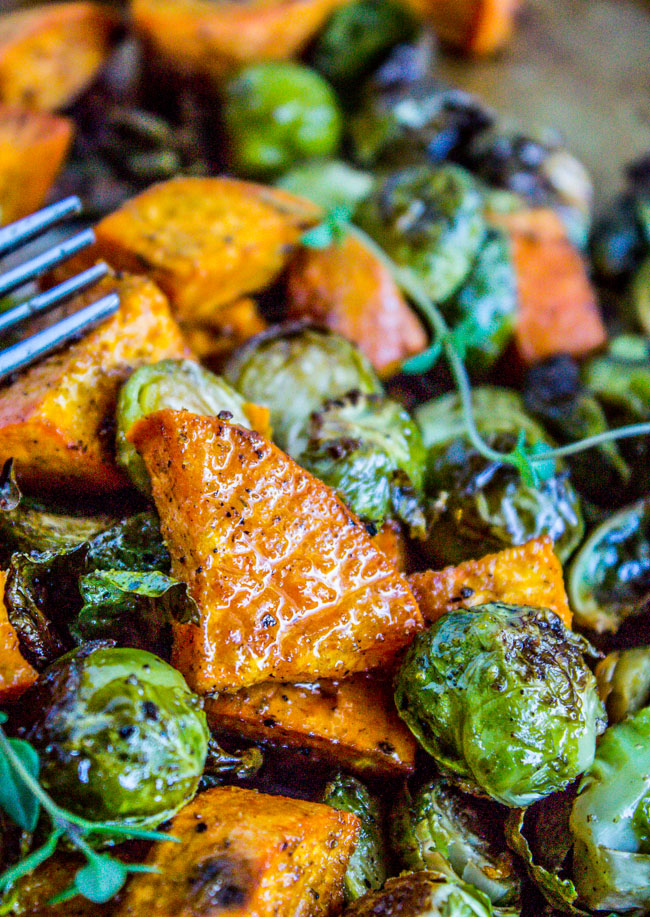 sweet potatoes and brussel sprouts recipe by thefoodcharlatan